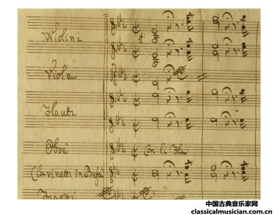 莫扎特歌剧《魔笛》序曲手稿